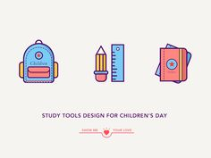 Simple Icon Design designed by MG_Lab. Connect with them on Dribbble; Show Me Your Love, Education Icon, Simple Icon, Best Icons, Child Day, Tool Design, Signage, Graphic Design, Pixel Art
