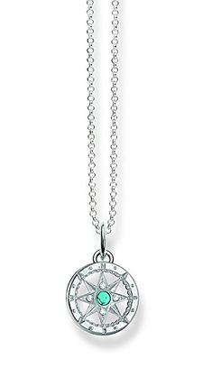 Thomas Sabo Women's Silver Simulated Turquoise Zirconia Necklace with Pendant of Length - The Sterling Silver Com Silver Jewelry, Fine Jewelry, Women Jewelry, Jewellery, Thing 1, Thomas Sabo, Aphrodite, Turquoise, Pendant Necklace