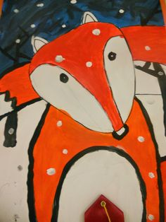 Little Dog Art Blog: 5th Grade Winter Fox Paintings. This lesson teaches movement and shapes. Awesome!