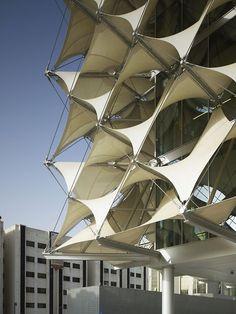 King Fahad National Library by Gerber Architekten   //// Fabric, lona, shade, facade:
