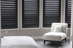Our new black plantation shutters! Fabulous. From Austin Window Fashions.