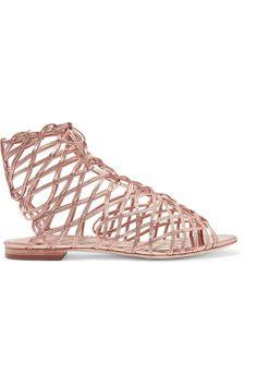 Sophia Webster | Delphine metallic leather sandals | NET-A-PORTER.COM
