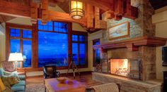 fabulous fireplace and massive beams in this Montana great room