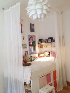Storage bed , kallax, expedit, girls room, kids room, diy,