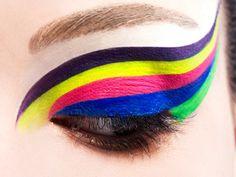 Rainbow neon! Colorful eyeliners.