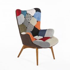 Mid-Century Modern Reproduction Contour Lounge Chair in Multicolored Patchwork Inspired by Grant Featherston