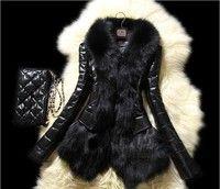 New Slim Women Winter Faux fox fur& sheep skin Coat Jacket Vest Parka Overcoat Faux fur coat Size Pl
