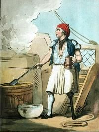 Cook, c. 1799. Ships' cooks were usually disabled seamen but were ranked as warrant officers. This cook is wearing the typical cook's dress of the Royal Navy. The average sailor's diet each week was 1lb (450 g) of ship's biscuit, 4lbs (1.8 kg) of beef, 2lbs (907 g) of pork, 2lbs (907 g) of peas, 1.5lbs (680 g) of oatmeal, 6oz (170 g) of sugar and 6oz (170 g) of butter, and 12oz (340 g) of cheese a week. These provisions were often rotten after months at sea.