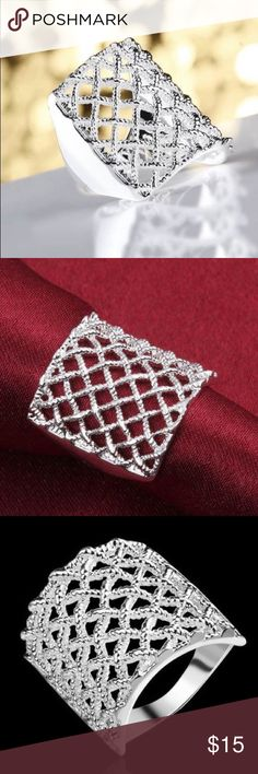 "SALE✨NEW Sterling Silver Woven Statement Ring PRICE FIRM UNLESS BUNDLED!   3/4"" square woven.  Sterling silver plated. Jewelry Rings"