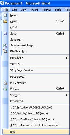Using The File Menu In Ms Word 2003