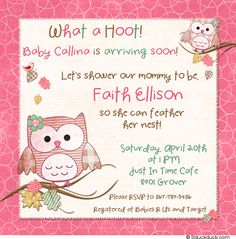 81 best baby shower invitation ideas for girls images on pinterest this hoot pink shower invitation features your custom baby shower wording surrounded by cute owls and leaves the pink teal colors baby girl arriving filmwisefo