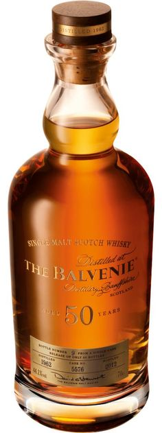 Only 88 bottles of Balvenie Fifty have been produced making this a rare commodity and truly one of the greatest malts. Matured in a European oak sherry hogshead, rarely used today in whisky making. Filled with spirit distilled in 1962, over the following 50 years the spirit has slowly matured gaining unsurpassed complexity. The particularly long maturation has created a wonderful fragrant and floral whisky. $30,000.