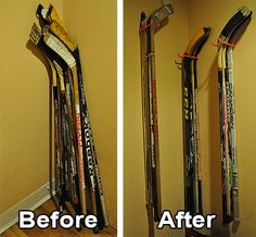 """<p style=""""text-align: justify;"""">Hockey sticks are a pain to store. I guess I could put mine in a closet, but I have little closet space to begin with. Plus, I don't want them buried behind a bunch of other things. Hockey sticks also don't stand too well on their own. For a while, I was stashing them behind my bedroom door, but they would fall down if the door hit them, and also mark up the walls. One day, I decided to go to the hardware store to buy some wood to m... Quotes Girlfriend, Hockey Girlfriend, Hockey Crafts, Hockey Decor, Sports Storage, Sports Organization, Organization Ideas, Garage Organization, Bruins Hockey"""