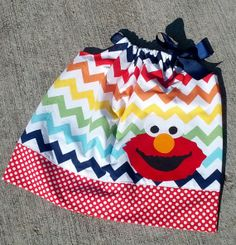 Elmo Chevron Rainbow Pillowcase Dress Infant by RockinMyPolkaDots, $18.00