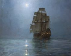 Montague Dawson, The Crescent Moon, Medium – Oil on Canvas, 40 x 50 Inches   Exhibitor: Haynes Fine Art of Broadway