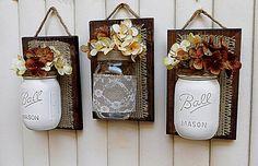 Mason Jar Wall Decor Burlap Decor Farmhouse Decor by TeddysRoom