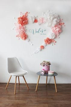 White Pink and Peach Paper flowers Wall Backdrop - Wedding Wall Decorations - Party Decor - Flower Set - Paper flowers wall decor