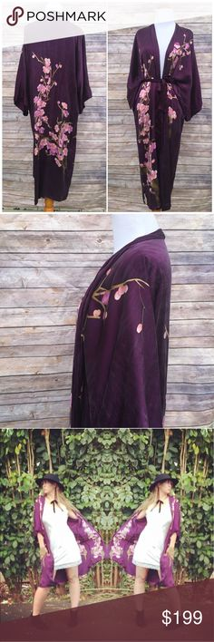"""Silk Kimono with Cherry Blossom Print 💯% silk Vintage Old Shanghai (brand) kimono with stunning cherry blossom print. 49"""" length. Comes with waist tie. Beautiful unique vintage piece to add to your Boho wardrobe. I only have one of these and it's one size. It's listed as multiple for visibility ✌🏻️🌻 Vintage Dresses"""