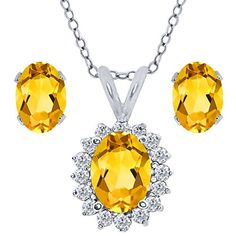 2.29 Ct Oval Yellow Citrine 925 Sterling Silver Pendant Earrings Set