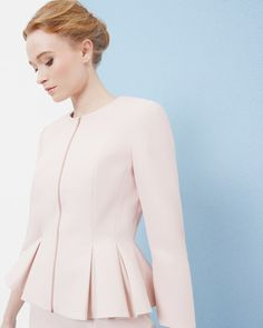 e10298ce9c8 Ted Baker Peplum zip through jacket Pale Pink Ted Baker, Classic Suit,  Jackets For