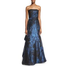 Rubin Singer Baldachin Strapless Mermaid Gown ($6,415) ❤ liked on Polyvore featuring dresses, gowns, metallic navy, pleated dresses, navy evening gown, strapless gown, navy blue dress and strapless mermaid dress