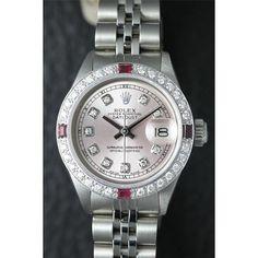 Ladies Rolex DateJust 18K White Gold/SS Pink Diamond Dial Watch