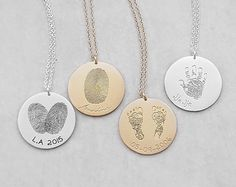 Actual Fingerprint Necklace – Personalized Handprint Necklace – Baby Footprints Necklaces – Meaningful Mother's Day Gifts – Make Jewelry Necklaces – Make Jewelry Disc Necklace, Pendant Necklace, Collar Necklace, Necklace Extender, Fingerprint Necklace, Fingerprint Heart, Jewelery, Jewelry Necklaces, Heart Necklaces