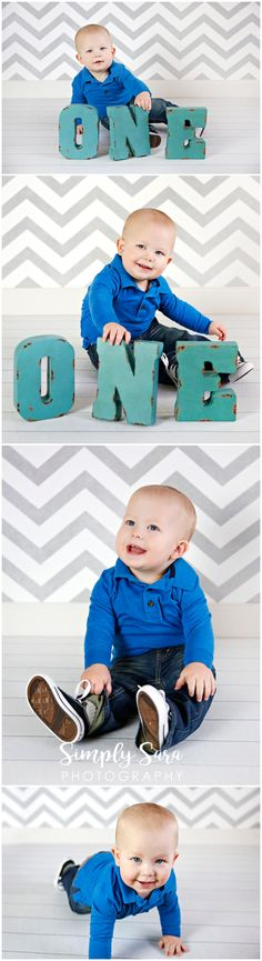 1 Year Old Boy Photo Shoot Ideas & Poses - Indoor Session - Gray Chevron Backdrop - ONE Letters - Billings, MT Child & Portrait Photographer