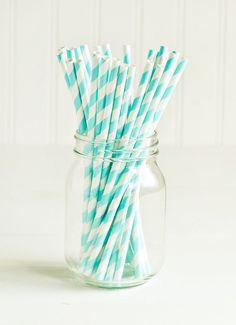 Paper Straws in Aqua Blue & White Stripes Set of 25