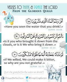 أفرأيتم الماء الذي تشربون / أأنتم أنزلتموه من المزن أم نحن المنزلون Have you seen the water that you drink?. Is it you who brought it down from the clouds,  or is it We who bring it down?. - If We willed, We could make it bitter, so why are you not grateful?. #Quran 56:68 // Voyez-vous donc l'eau que vous buvez ?. Est-ce vous qui l'avez fait descendre du nuage ? ou [en] sommes Nous le descendeur ?. Si Nous voulions, Nous la rendrions salée. Pourquoi n'êtes-vous donc pas reconnaissants ?.  #Coran