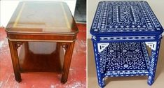 Fab Furniture Transformation! Melissa from Aldana Decorative Art used the Indian Inlay Stencil kit to create this bold blue beauty! Would you use this stencil in blue? http://www.cuttingedgestencils.com/indian-inlay-stencil-furniture.html