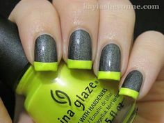 Silver glitter and neon green nail art