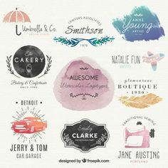 Logotipos aguarela bonita