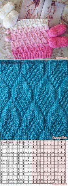 узоров (спицы) Tutorial for Crochet, Knit.Keka❤❤❤Tutorial for Crochet, Knit. Knitting Stiches, Knitting Charts, Lace Knitting, Knitting Patterns Free, Knit Patterns, Crochet Stitches, Stitch Patterns, Knit Crochet, Blanket Patterns