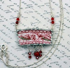 Broken China Jewelry Pendant Necklace Red by Robinsnestcreation1, $54.95