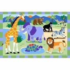 "Wild Animals Kids Rug - Size 19"" x 29"" by LA Rug. $39.29"