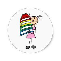 Stick Girl with Books Sticker