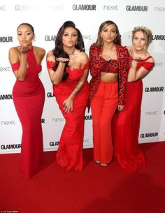 Kisses for you: Little Mix coordinated with each other and the red carpet for the annual awards, with Perrie Edwards (far right) looking pretty in a red maxi while Jade Thirlwall showed off her abs Little Mix 2015, Little Mix Girls, Jesy Nelson, Lady Gaga, Glamour, Little Mix Instagram, Alesha Dixon, Mixed Girls, Perrie Edwards