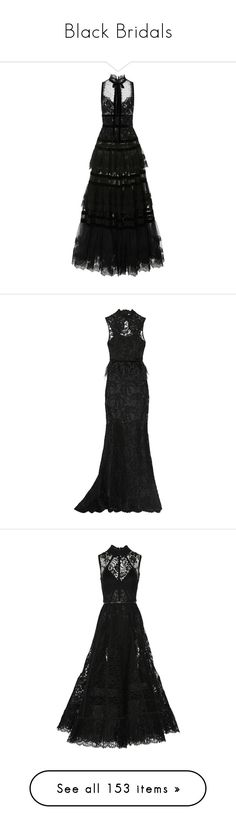"""Black Bridals"" by bells-and-knots ❤ liked on Polyvore featuring black, dresses, wedding, Gowns, WeddingDresses, gowns, elie saab, long dress, lace evening dresses and tiered ruffle dress"
