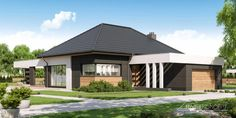 Projekt domu HomeKONCEPT-68 | HomeKONCEPT Modern Bungalow House Plans, Modern Bungalow Exterior, Modern House Design, Village House Design, Village Houses, Three Bedroom House Plan, Beautiful House Plans, Best House Plans, House Prices