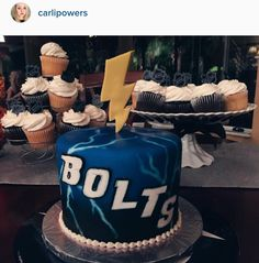Rehearsal cake I designed for my Groom! Go Bolts! Tampa Bay Lightning