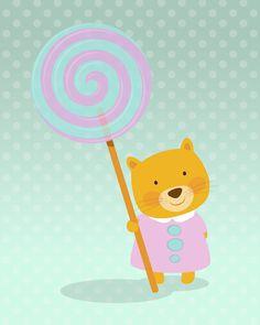 Nursery art print, Kids art print. Little kitten with a colored lollipop on a mint background with dots, 5x7, Art print.