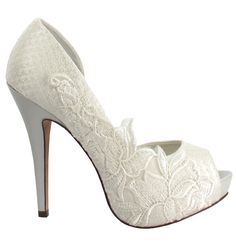 Get basic white heels. Cover in lace from my mothers gown and glitter the soles in blue. Bam! Wedding shoes to die for- something old, borrowed, new and blue!