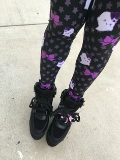 Kawaii Ghost Leggings Tights, Bat Tights, Pastel Goth Tights, Lavender Eyeball Tights by kawaiigoods on Etsy https://www.etsy.com/ca/listing/452427846/kawaii-ghost-leggings-tights-bat-tights