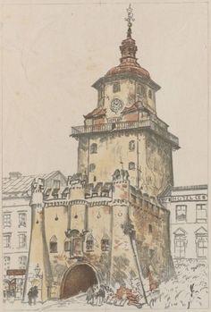 Brama Krakowska w Lublinie, latem - Leon Wyczółkowski