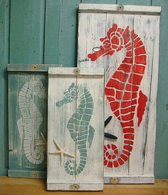 Seahorse Wall Art Panel Wood Wooden Painting by CastawaysHall