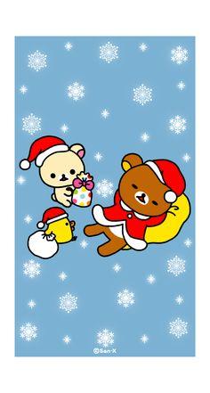 Christmas Wishes, Merry Christmas, Rilakkuma Wallpaper, Christmas Cartoons, Sanrio Characters, Christmas Illustration, Christmas Wallpaper, Mobile Wallpaper, Cute Wallpapers