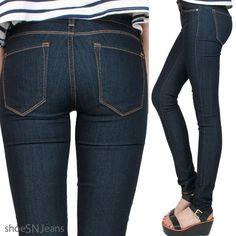 Women's Mid Rise Denim Dark Blue Wash Skinny Eunina Jean Regular To Plus Size #Eunina #Skinny
