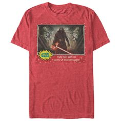 The Star Wars Kylo Ren Stormtroopers Trading Card Heather Red T-Shirt is perfect for fans of the First . A distressed print in the style of a vintage Star Wars trading card features Kylo Ren With An Army Of Stormtroopers on the front of this classic
