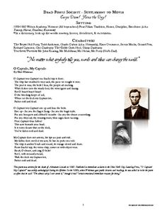 dead poets society movie supplement handout with worksheets movies poem and quizes. Black Bedroom Furniture Sets. Home Design Ideas